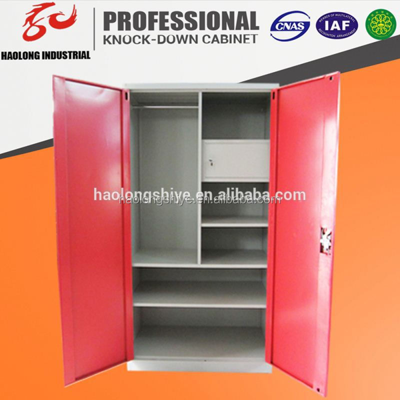 customized KD steel wardrobe with double mirror doors