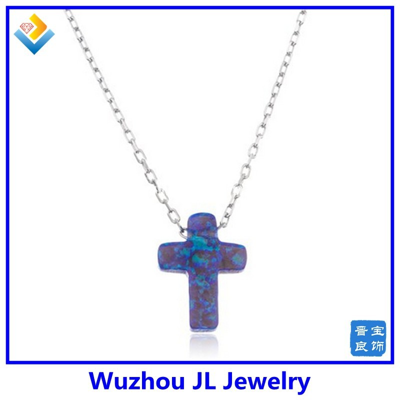 Factory Wholesale 925 Sterling Price of Cross Opal Necklace For Women and Girl