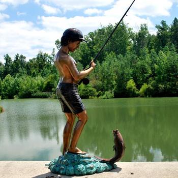 Garden Decor Boy Fishing Statue Bronze Sculpture