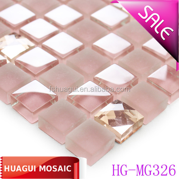 pink crystal glass mosaic bedroom tile
