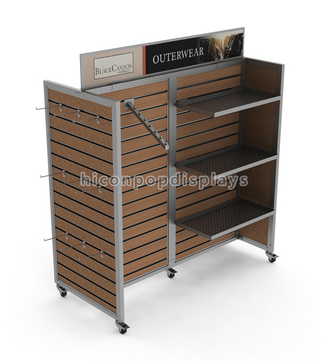 Sturdy Floor Custom Logo Slatwall Wood Commercial Rolling Outwear Clothes Rack Display With Wheels