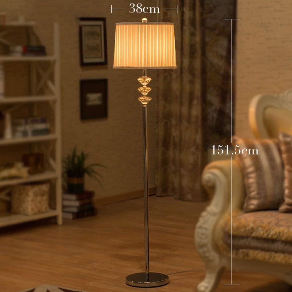DEED Floor Lamp-Led European Style Crystal Floor Lamp Living Room Study Bedroom Bedside Lamp American Style Creative Floor Lamp Eye Protection Vertical Table Lamp