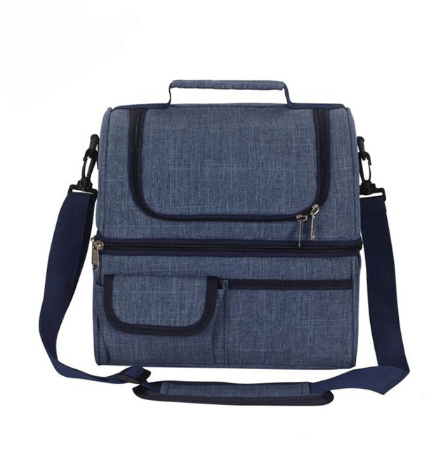 Insulated Lunch Bag Double Deck Lunch Box Bag for Adults Lunch Box Cooler Bag