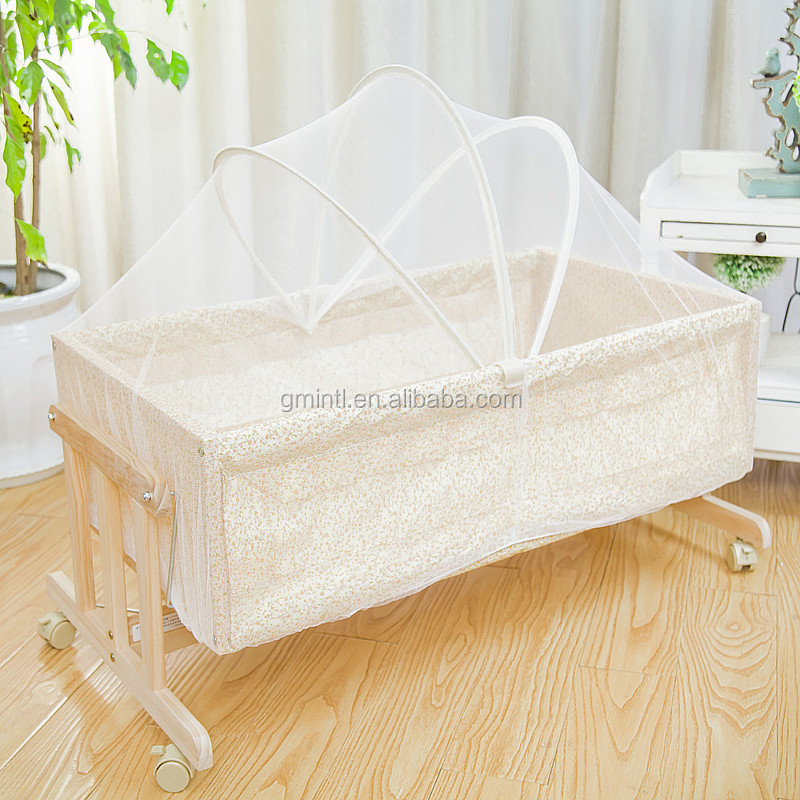 Solid wood baby Cradle/ Good quality wooden Single Baby Cot Bed