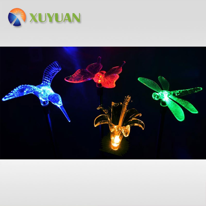 Solar Stake Flower, Hummingbird, Butterfly and Dragonfly Garden Stake Lights