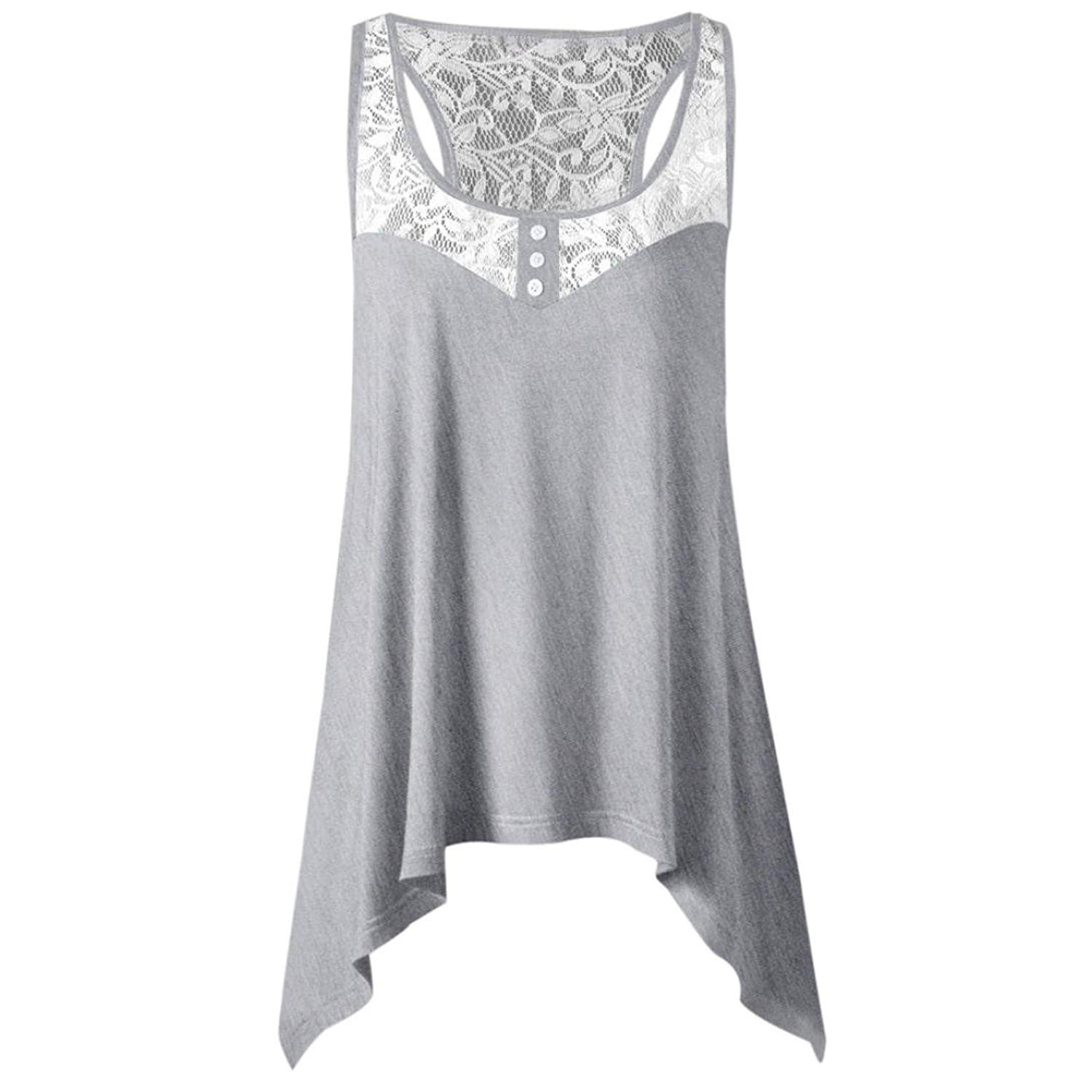 Leedford Clearance! Women Tank Tops, Women Summer Irregular Lace Vest Top Sleeveless Blouse Casual Tank Top T-Shirt