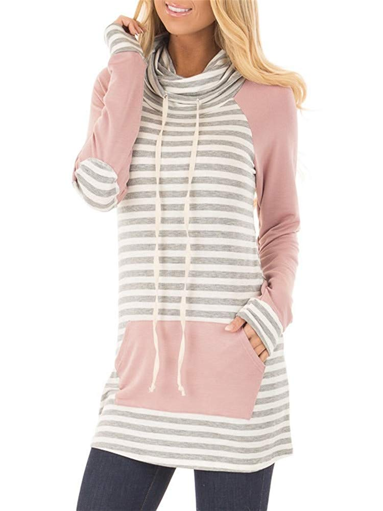 Blanycool Womens Sweatshirt Striped Cowl Neck Drawstring Pullover Tops Kangaroo Pocket