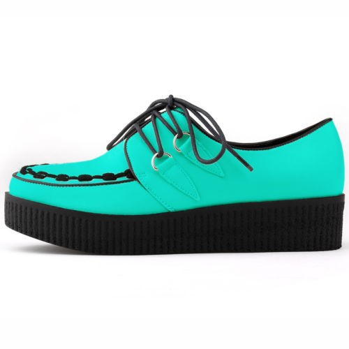 Free ship Shoes Woman PU LEATHER Flat Shoes LACE UP GOTH PUNK CREEPERS Women Flats Creepers Flat Shoes Women US SIZE 4-11
