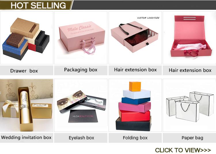 ขายส่งใหม่ผลิตภัณฑ์ราคาถูกที่กำหนดเองกล่องกระดาษแข็งของขวัญ hair extension บรรจุภัณฑ์