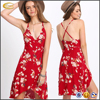 Ecoach high quality summer Red Deep V Neck Florals Wrap Dress fashion korean dresses new fashion lady dress
