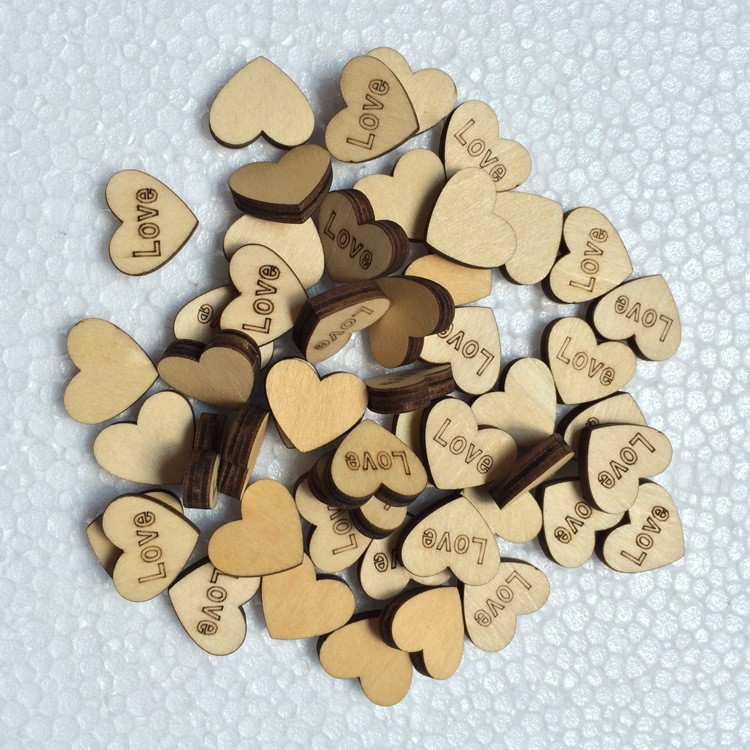 1000pcs Rustic Wooden Wood Love Heart Wedding Table Scatter Decoration Crafts