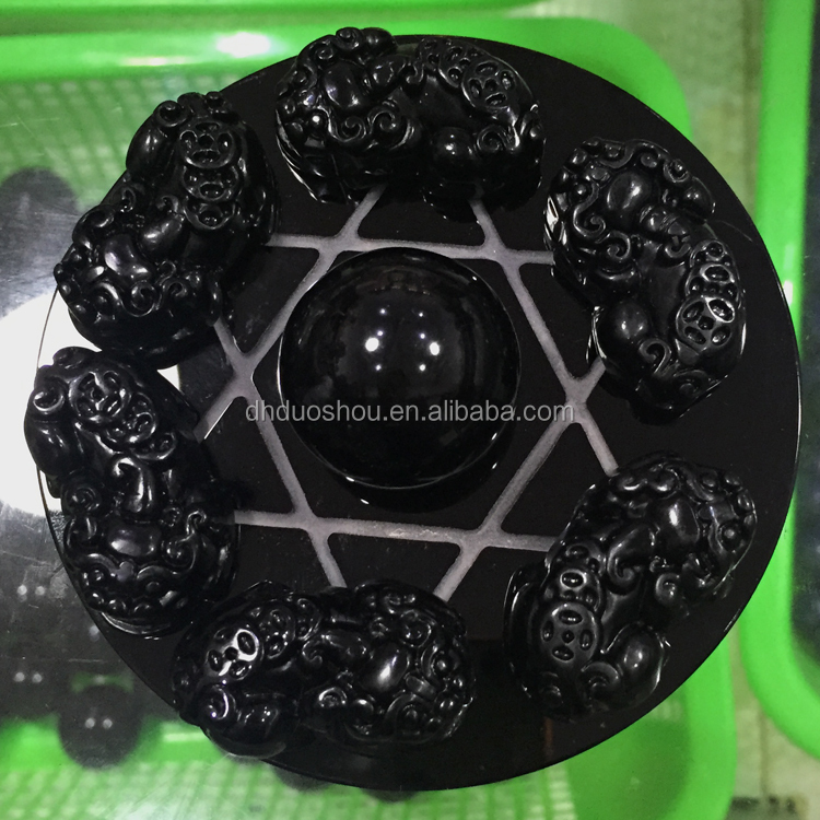 natural cheap carved black obsidian crystal jade mascot pixiu for office decor