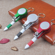 Novelty design plastic ball pen with mirror and nail clippers