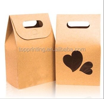 Disposable Lunch Bag For Food Container Kraft Paper Ng With Window