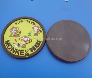 monkey shake recessed round engraved 2D cup coaster for coffee cup mat