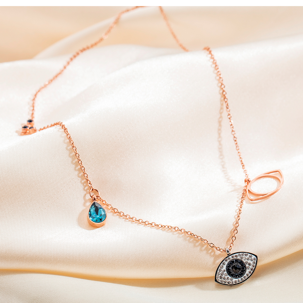 Wholesale Ladies Jewelry Accessories Crystal Rose Gold Eyes Charm Necklace For Women And Girls