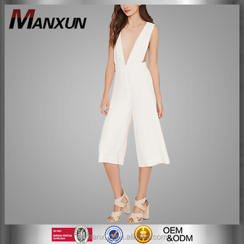 V neckline White Apparel Clothing Contemporary Culottes Jumpsuit 2016