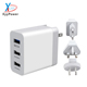 3 Ports USB Travel Wall Charger 5V 2A Multi USB Charging Mobile Phone Charger Power Adapter with interchangeable plug