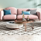 Rose Gold Metal Frame Marble Slab Round Glass Coffee Table For Living Room