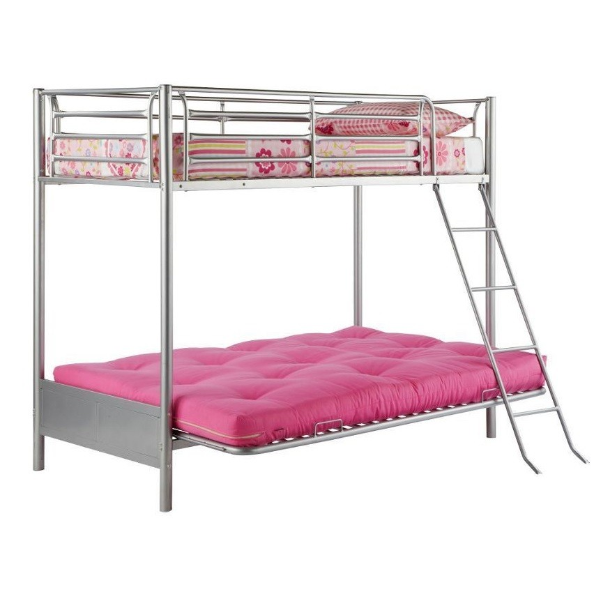 Single Bunk Bed With Futon Sofa Bed Double