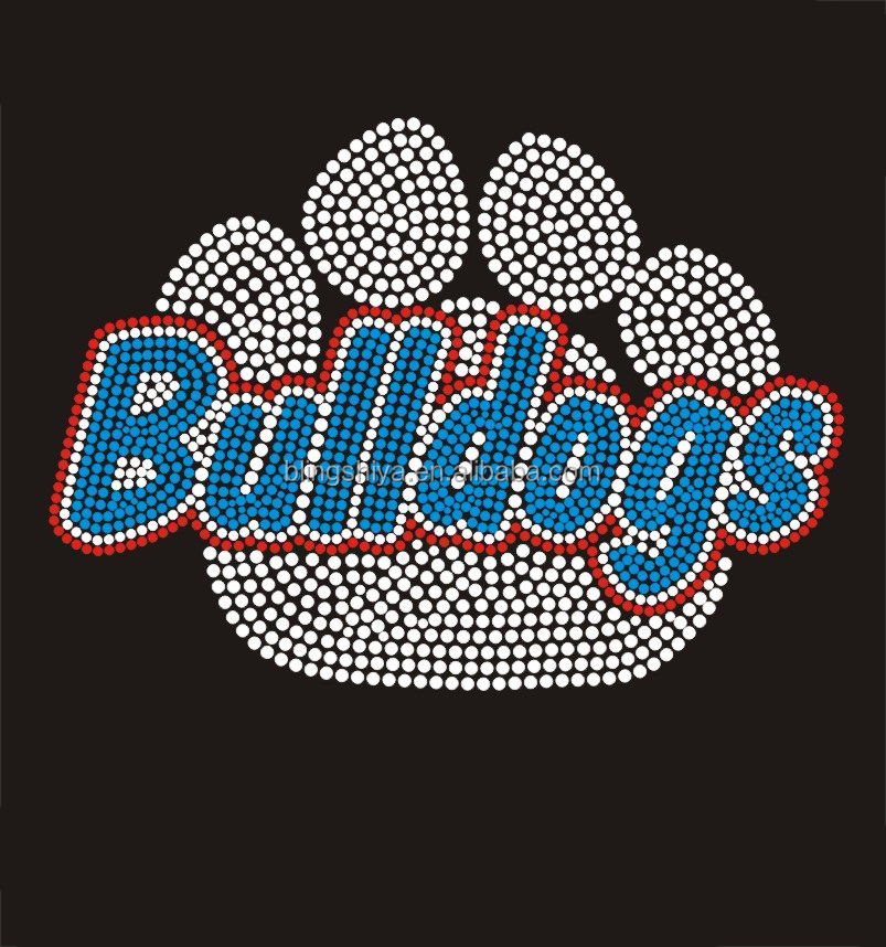 Bulldogs Paw Iron on Rhinestone Heat Transfers