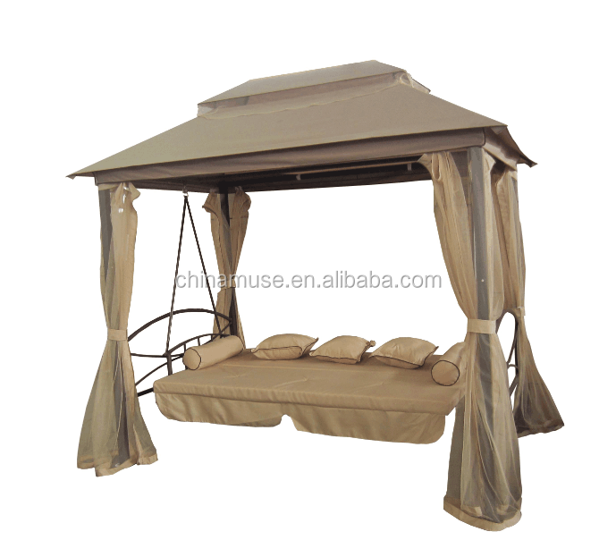 Hot Sale Morden Ourdoor Garden Furniture Metal Gazebo Swing with Canopy Swing Foldable Bed and Mosquito Net