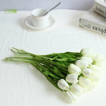 Realistic Looking White PU Artificial Wholesale Flowers Faux Tulip Flower