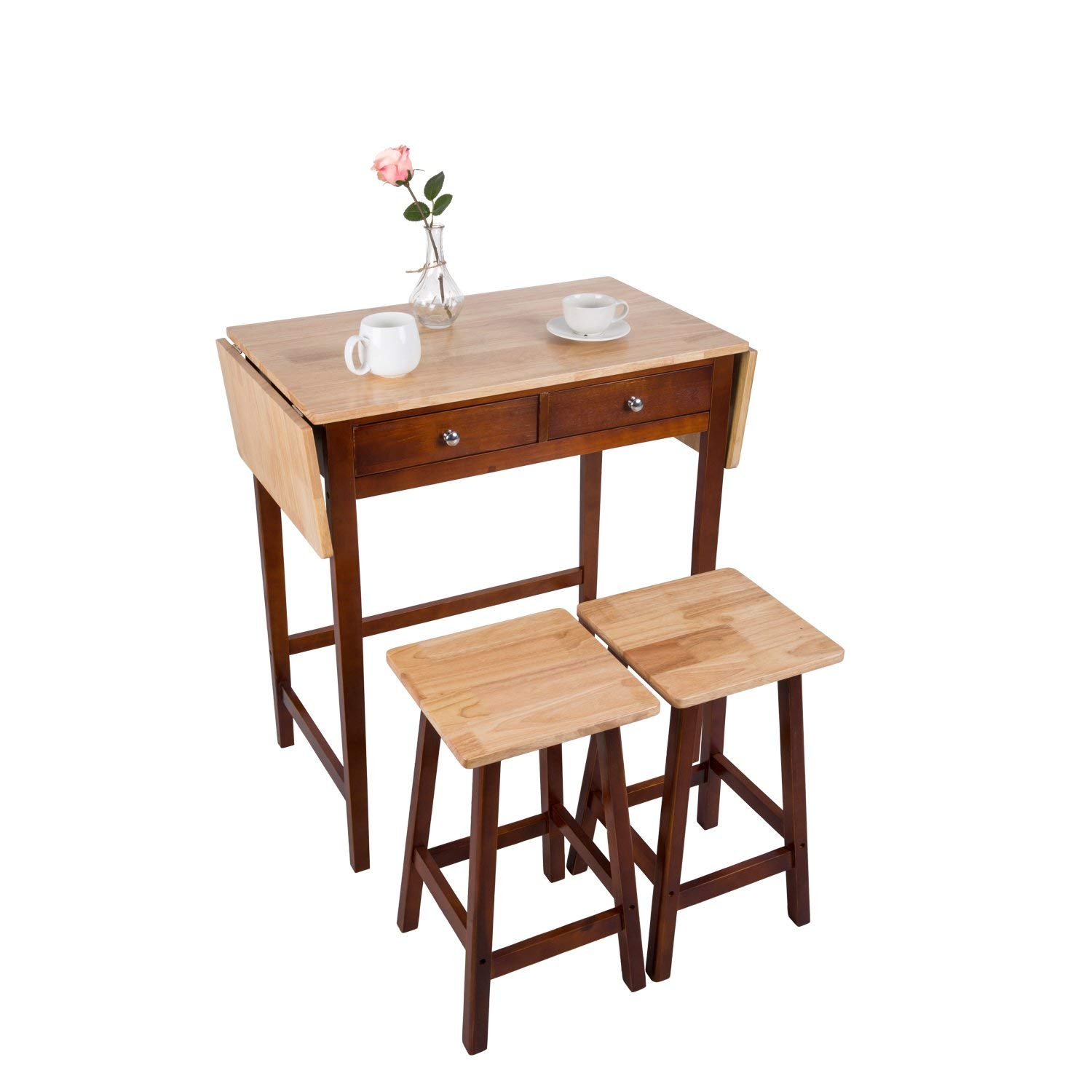 Peach Tree Foldable Kitchen Table 3-Piece Dining Set Wooden Home Furniture Rolling Kitchen Island 2-Side Foldable Table Drop Leaf, Breakfast Bar w/ 2 Stools