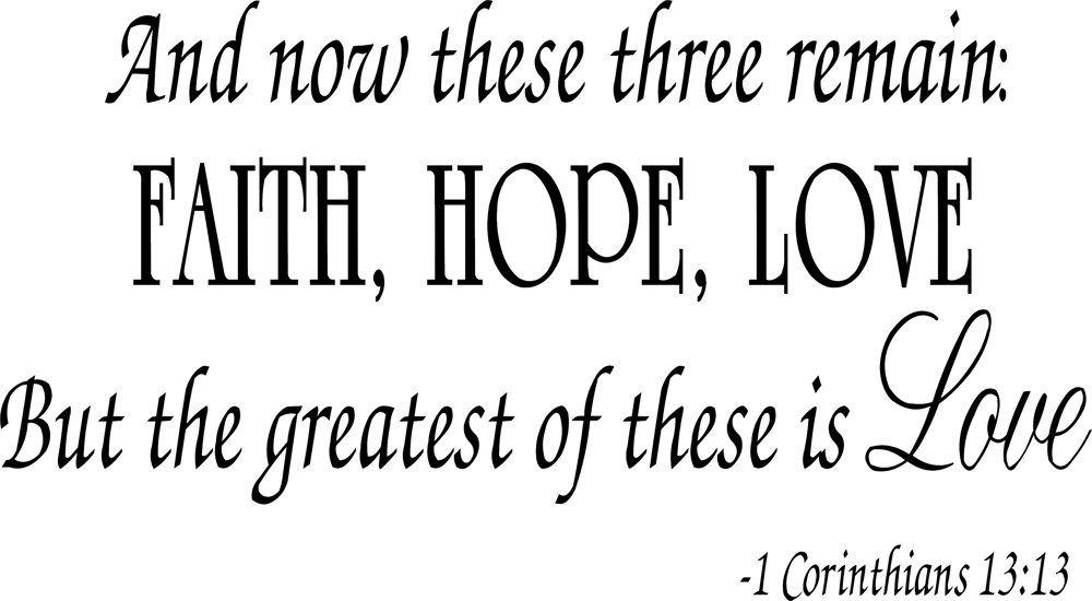 Buy Faith Hope Love Corinthians Wall Quote Decal Scripture Bible Amazing Faith Love Hope Quotes