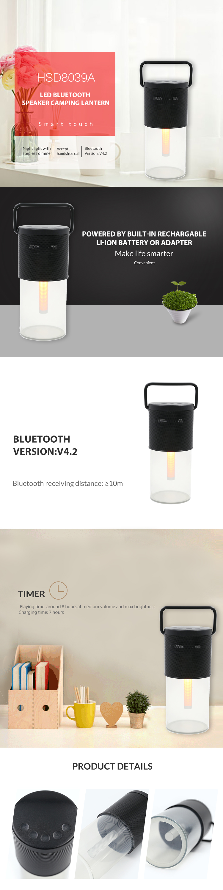 Best sellers in europe 2019 retro portable wireless waterproof outdoor bluetooth speaker led lantern with USB output for phone