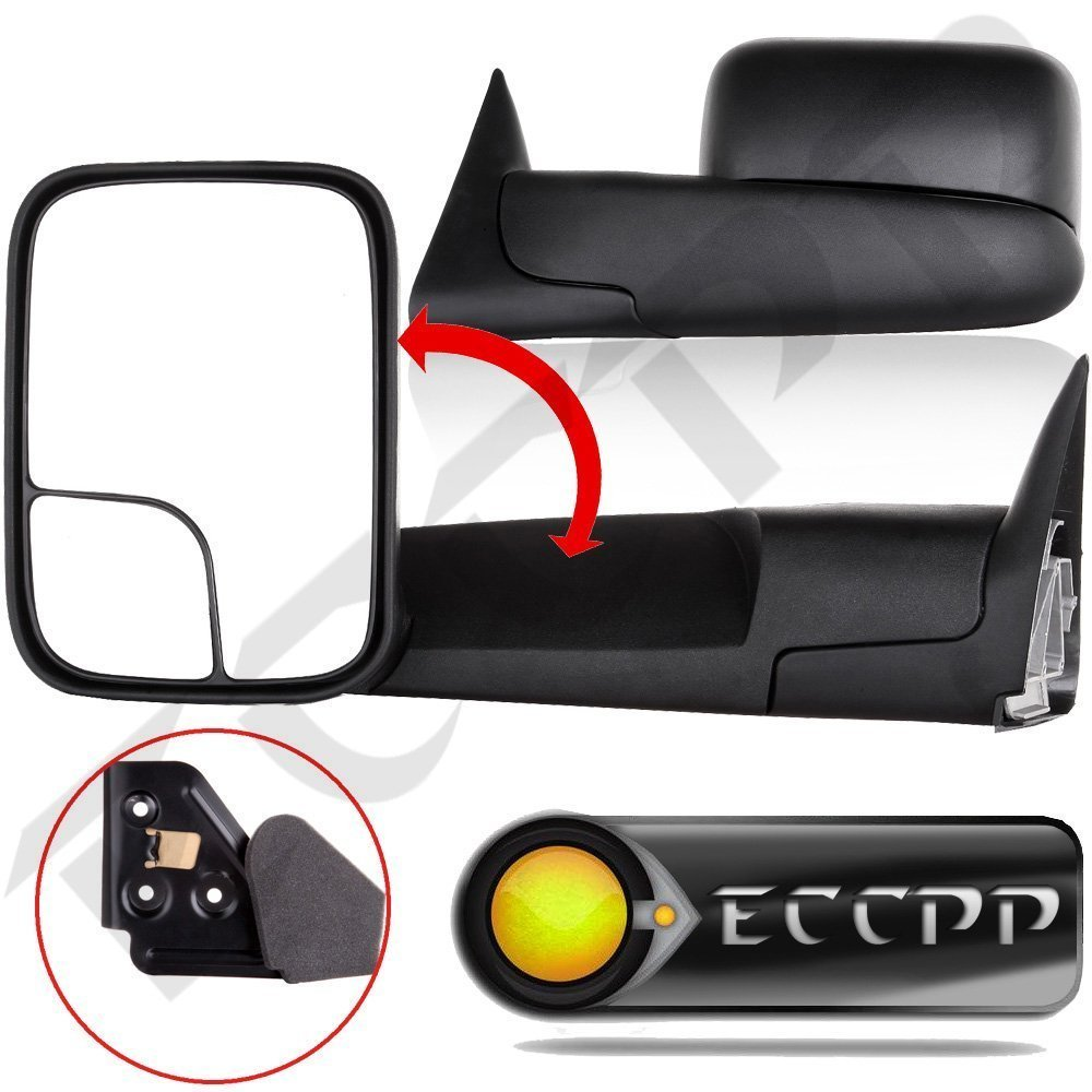 ECCPP Mirrors Towing Manual Flip Up Left&Right Towing Mirror Pair Set for 1994-01 Dodge Ram 1500 94-02 Ram 2500 3500 Truck Pickup w/Bracket