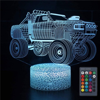 3D Illusion Monster Truck Lamp Optical LED Car Night Light 7 Color Changing Desk Lamp, Christmas Birthday Gift for Kids