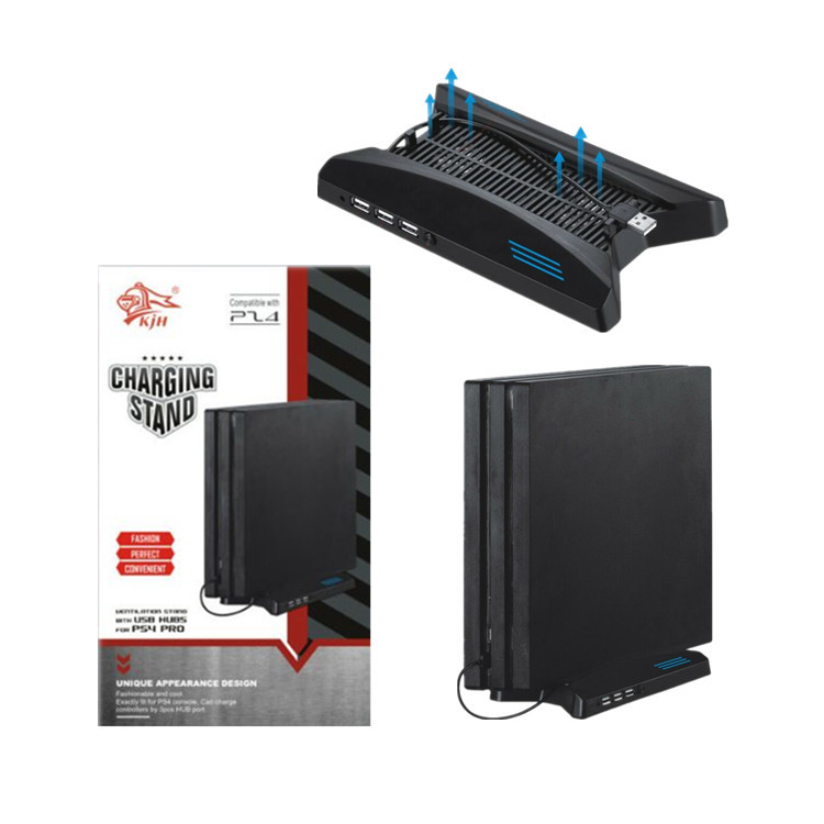 Multifunction Charging Stand With Built-in Cooling Fans + 3 USB HUB For PS4 Pro Console