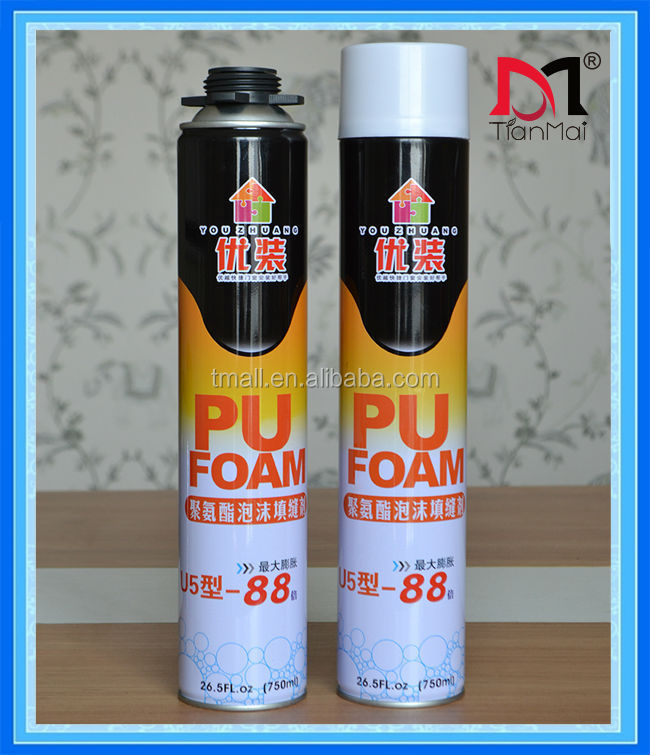 Hot sales! 750ml 500ml aerosol cans expanding pu foam, hand pu foam and gun pu foam, closed cells