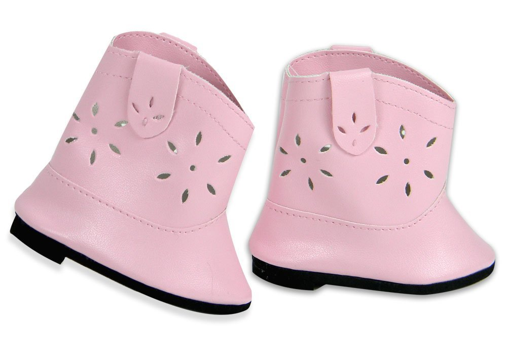 18 Inch Cowgirl Boots, Pink Doll Shoes fits American Girl Dolls, Pink Cowgirl Doll Boots
