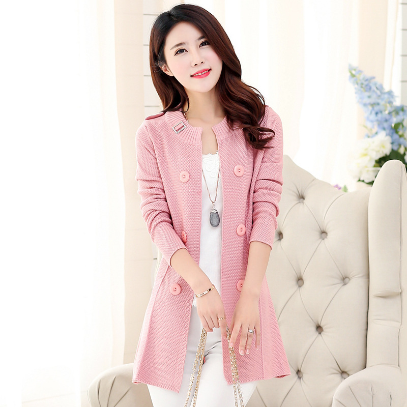 096b9ec140 Get Quotations · 2015 women s autumn sweater cardigan medium-long fashion  all-match o-neck cardigan