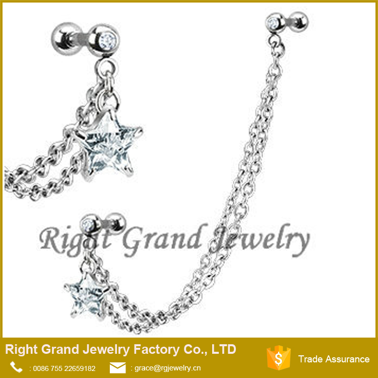 Clear Star Zircon Body Jewelry Ear Chain Piercings