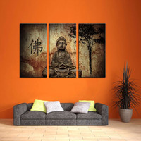 LK367 3 Panel Religion Buddha In Grotto Wall Art Modern Pictures Print On Canvas Paintings Sale For Home Bar Hub Kitchen Fashion