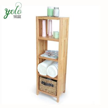 Multifunctional Storage Rack 4 Tier 100 Bamboo Bathroom Shelf
