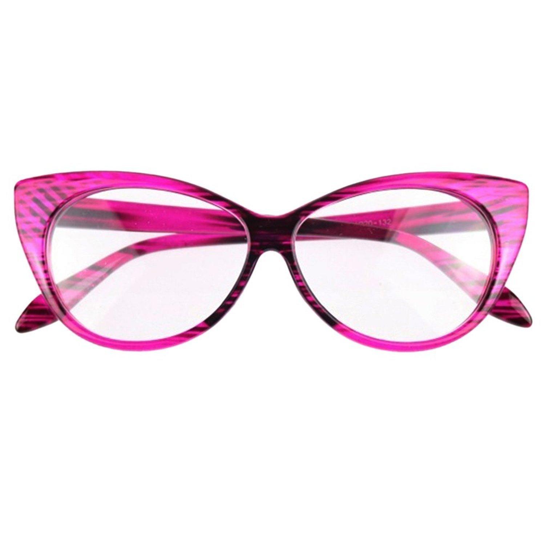 SODIAL(R) Women Sexy Cat-Eye Shape Plain Eye Glasses Plastic Eyewear Purple