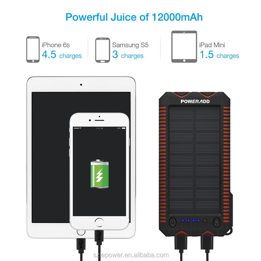 2019 Hot Solar Energy Products Poweradd 12000mAh rechargeable Solar Power Bank