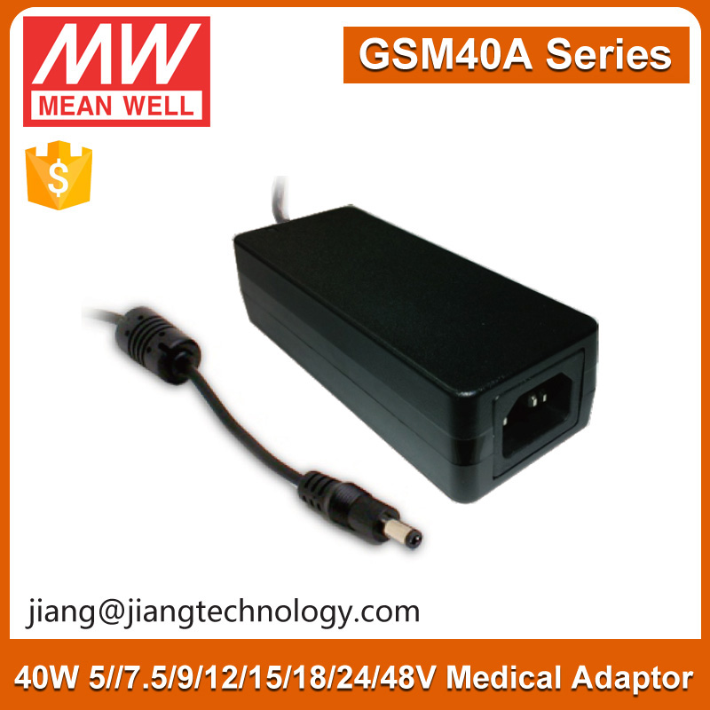40W Switching Adapter 12V Single Output High Efficiency GSM40A12-P1J Meanwell 12V DC Adaptor