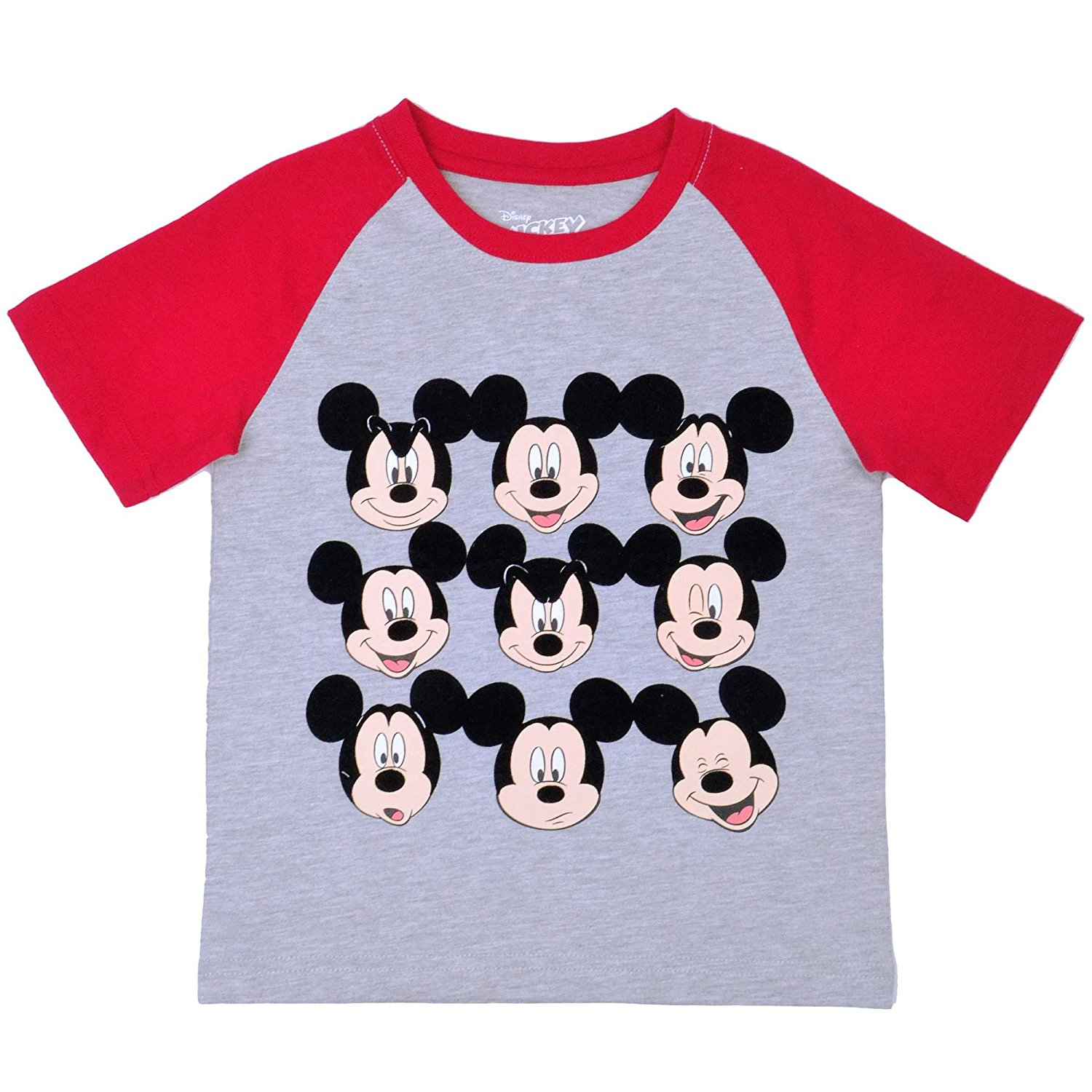 37e4926f Get Quotations · Mickey Mouse Toddler Little Boys Mickey Facial Expressions Raglan  Shirt