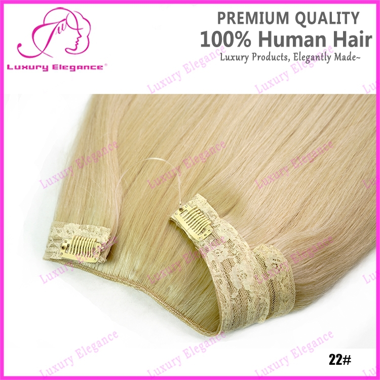 Sun Blonde Color #22 Halo Fish Line Hair Extension For White Women