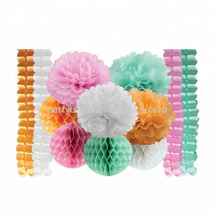 Paper Garland Paper Flower Ball Decorations Paper Pompoms For Event