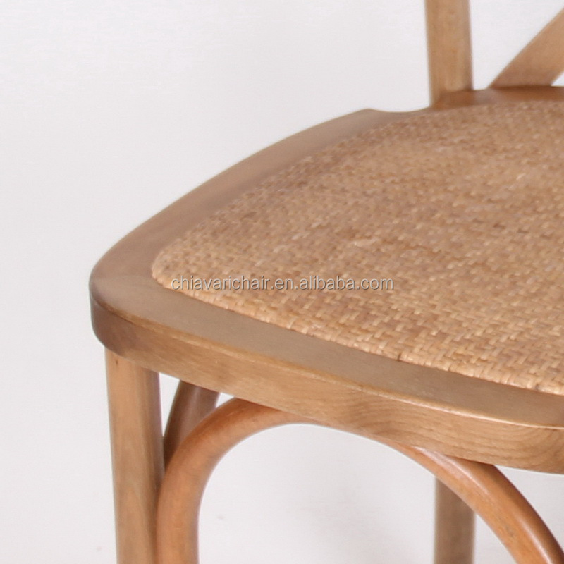 Commercial Hotel Bistro Simple Wood Cross Back Chair for Hotel