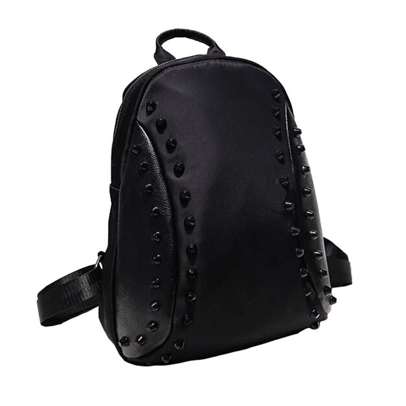 New 2015 Women Backpack Korean Fashion Rivet Nylon Backpack High Quality Casual Bags Size 34*26*10cm OS-AY-119