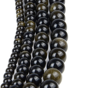 Natural Gold Obsidian Stone Beads Strand 4 6 8 10 12 MM for Bracelet Jewelry Making