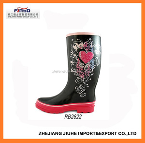 Fashion Printed Rubber Rain Boots for Women