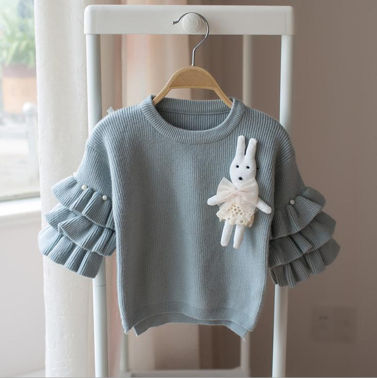X62918A 2017 Autumn New Pullover Flare Sleeve Girls Knitted Bunny Sweaters